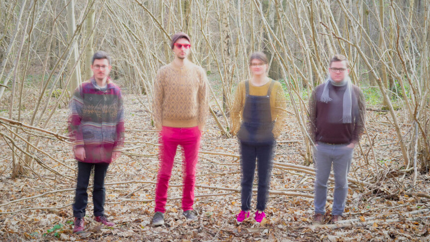 Group shot, in autumnal woods, deliberately blurry